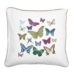 Butterflies Collage Square Canvas Pillow
