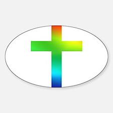 Rainbow cross Sticker (Oval)