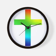 Rainbow cross Wall Clock