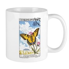 1961 Czech Swallowtail Butterfly Postage Stamp Small Mug