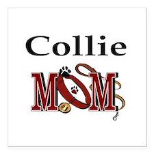 "Collie Mom Square Car Magnet 3"" x 3"""