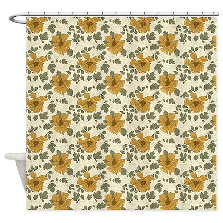 Beige Floral Pattern Shower Curtain