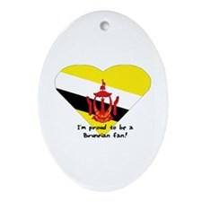 Brunei fan flag Oval Ornament