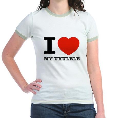 I Love My Ukulele Jr. Ringer T-Shirt