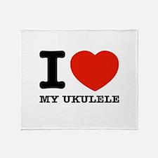 I Love My Ukulele Throw Blanket