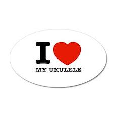 I Love My Ukulele 35x21 Oval Wall Decal