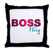 Pink Boss Filly Throw Pillow