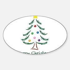 Merry Christmas Tree Sticker (Oval 10 pk)