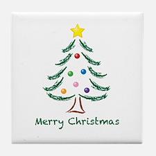 Merry Christmas Tree Tile Coaster