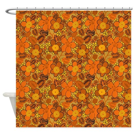 Orange Floral Pattern Shower Curtain By Esangha