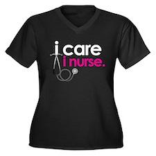icareinursepinkwhite Plus Size T-Shirt