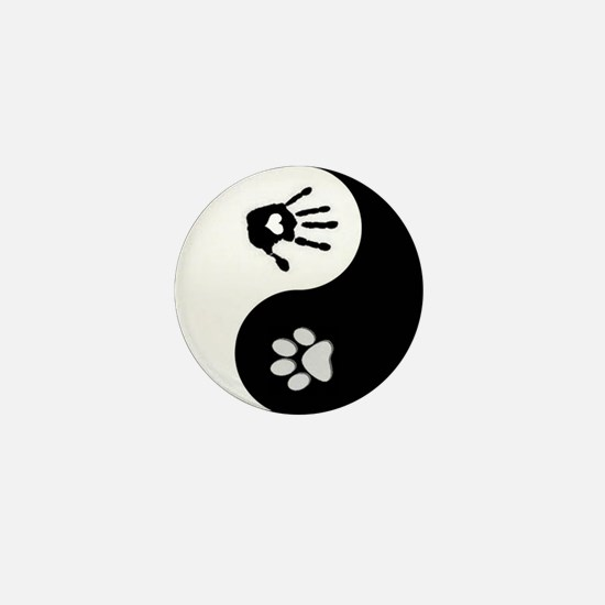 Dog Paw Print & Handprint Yin Yang Mini Button