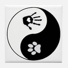 Dog Paw Print & Handprint Yin Yang Tile Coaster
