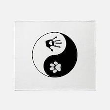 Dog Paw Print & Handprint Yin Yang Throw Blanket