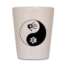Dog Paw Print & Handprint Yin Yang Shot Glass