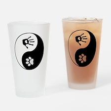 Dog Paw Print & Handprint Yin Yang Drinking Gl