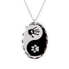 Dog Paw Print & Handprint Yin Yang Necklace Oval C