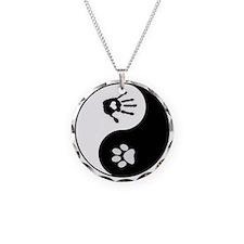 Dog Paw Print & Handprint Yin Yang Necklace Ci