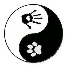 Dog Paw Print & Handprint Yin Yang Round Car M