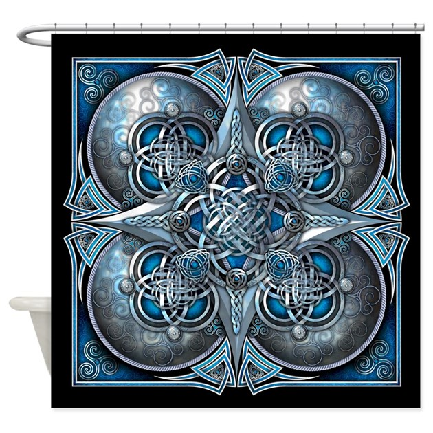 Silver Blue Celtic Tapestry Shower Curtain By Naumaddicarts