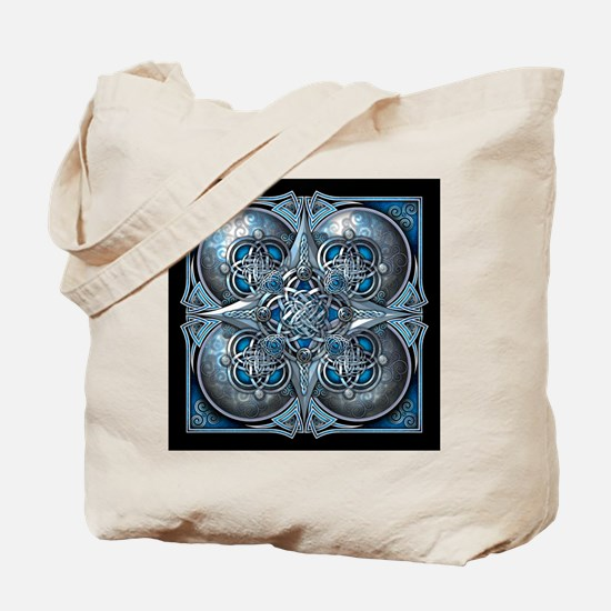Silver & Blue Celtic Tapestry Tote Bag