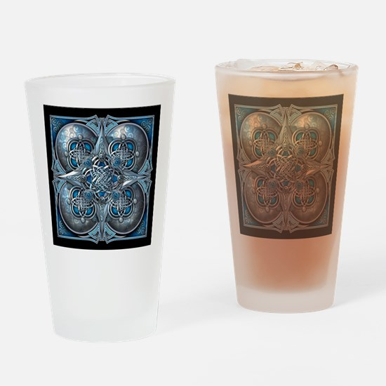 Silver & Blue Celtic Tapestry Drinking Glass
