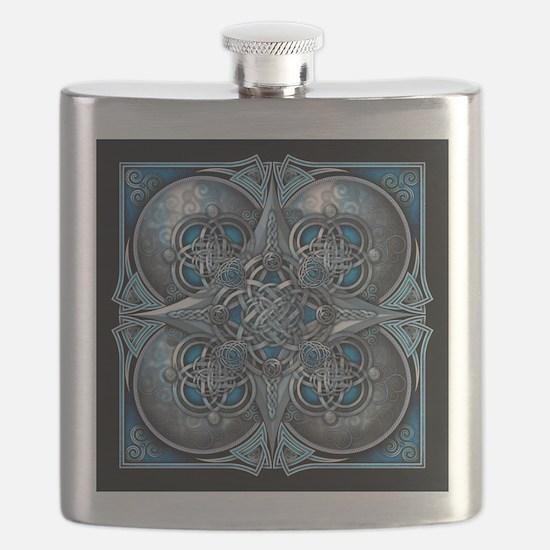 Silver & Blue Celtic Tapestry Flask