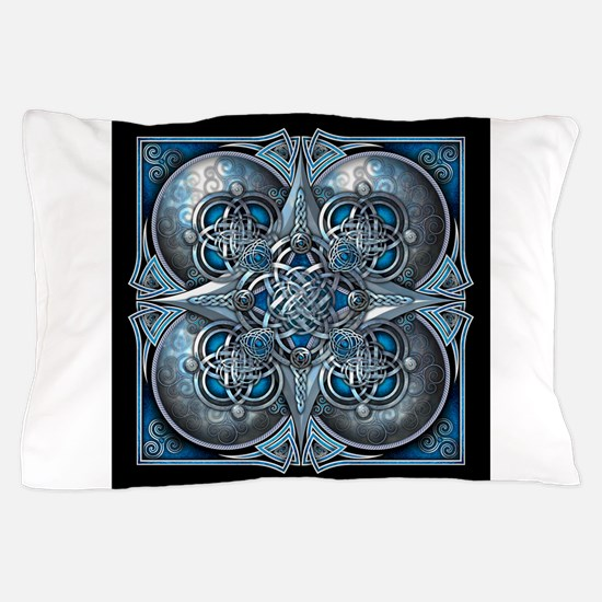 Silver & Blue Celtic Tapestry Pillow Case