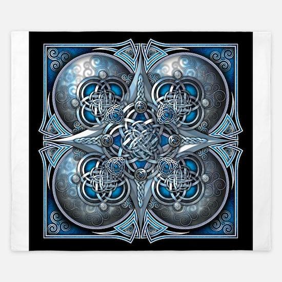 Silver & Blue Celtic Tapestry King Duvet