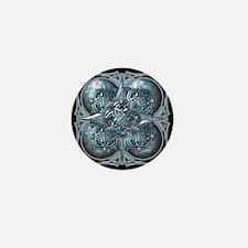 Silver & Blue Celtic Tapestry Mini Button