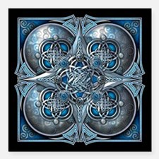 Silver & Blue Celtic Tapestry Square Car Magnet 3""