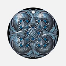 Silver & Blue Celtic Tapestry Ornament (Round)