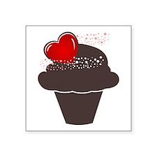 "Love Cupcake Square Sticker 3"" x 3"""
