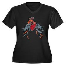 Burning Heart Women's Plus Size V-Neck Dark T-Shir