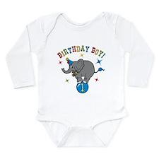 Circus Elelphant 1st Birthday Boy LS Inf Bodysuit