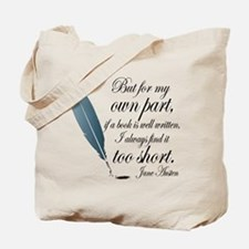 Jane Austen Book Quote Tote Bag