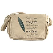 Jane Austen Book Quote Messenger Bag