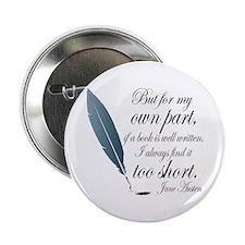 """Jane Austen Book Quote 2.25"""" Button"""