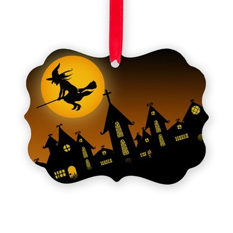 Spooky Halloween 2 Picture Ornament