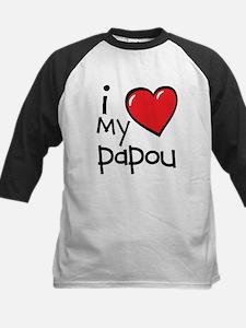I Love My Papou Kids Shirt Raglan Sleeves