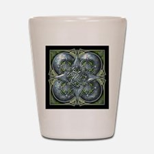 Silver & Green Celtic Tapestry Shot Glass
