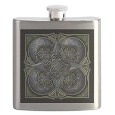 Silver & Green Celtic Tapestry Flask