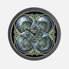 Silver & Green Celtic Tapestry Wall Clock