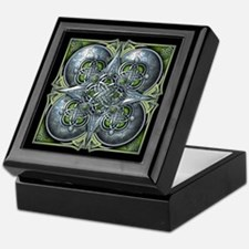 Silver & Green Celtic Tapestry Keepsake Box