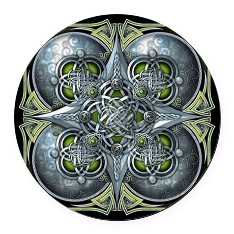 Silver & Green Celtic Tapestry Round Car Magnet