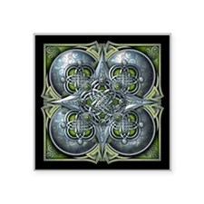 "Silver & Green Celtic Tapestry Square Sticker 3"" x"
