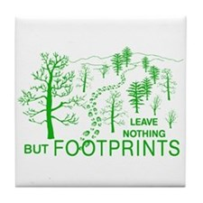 Leave Nothing but Footprints Green Tile Coaster