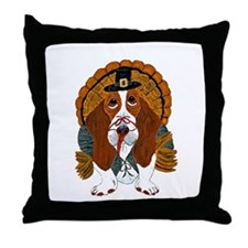 Basset Hound Thanksgiving Turkey Throw Pillow