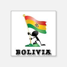 "BOLIVIA MAN BLACK.png Square Sticker 3"" x 3"""