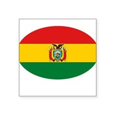 "BOLIVIA OVAL.png Square Sticker 3"" x 3"""